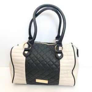 Betsey Johnson black and cream satchel purse